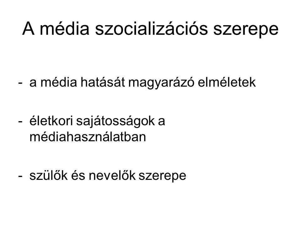 A média szocializációs szerepe -a média hatását magyarázó elméletek -életkori sajátosságok a médiahasználatban -szülők és nevelők szerepe