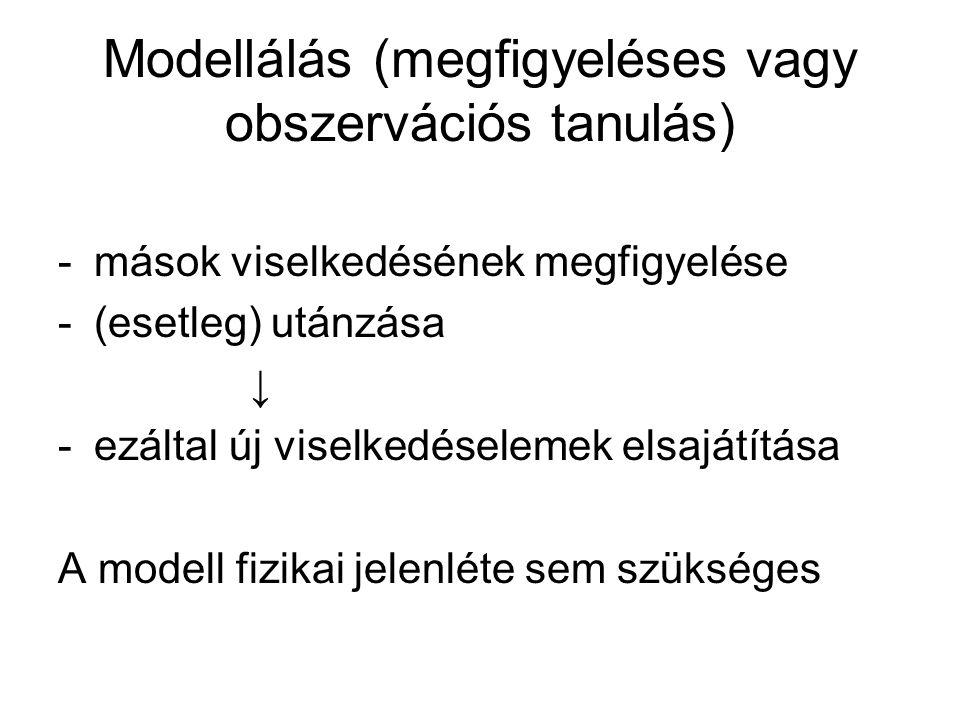 Modellálás (megfigyeléses vagy obszervációs tanulás) -mások viselkedésének megfigyelése -(esetleg) utánzása ↓ -ezáltal új viselkedéselemek elsajátítása A modell fizikai jelenléte sem szükséges