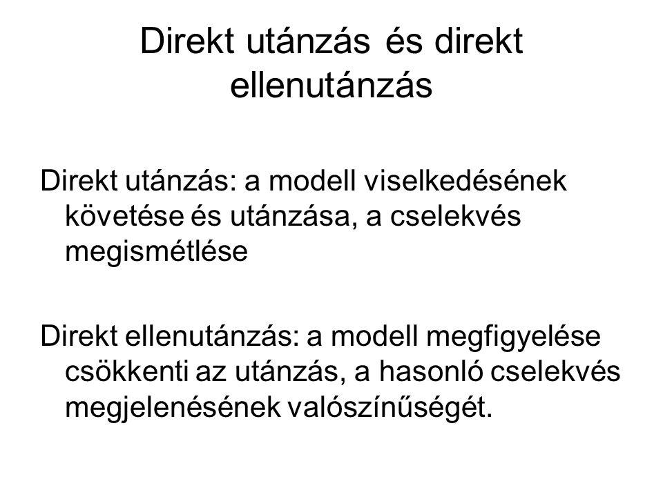 Direkt utánzás és direkt ellenutánzás Direkt utánzás: a modell viselkedésének követése és utánzása, a cselekvés megismétlése Direkt ellenutánzás: a modell megfigyelése csökkenti az utánzás, a hasonló cselekvés megjelenésének valószínűségét.