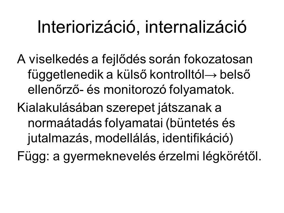 Interiorizáció, internalizáció A viselkedés a fejlődés során fokozatosan függetlenedik a külső kontrolltól→ belső ellenőrző- és monitorozó folyamatok.