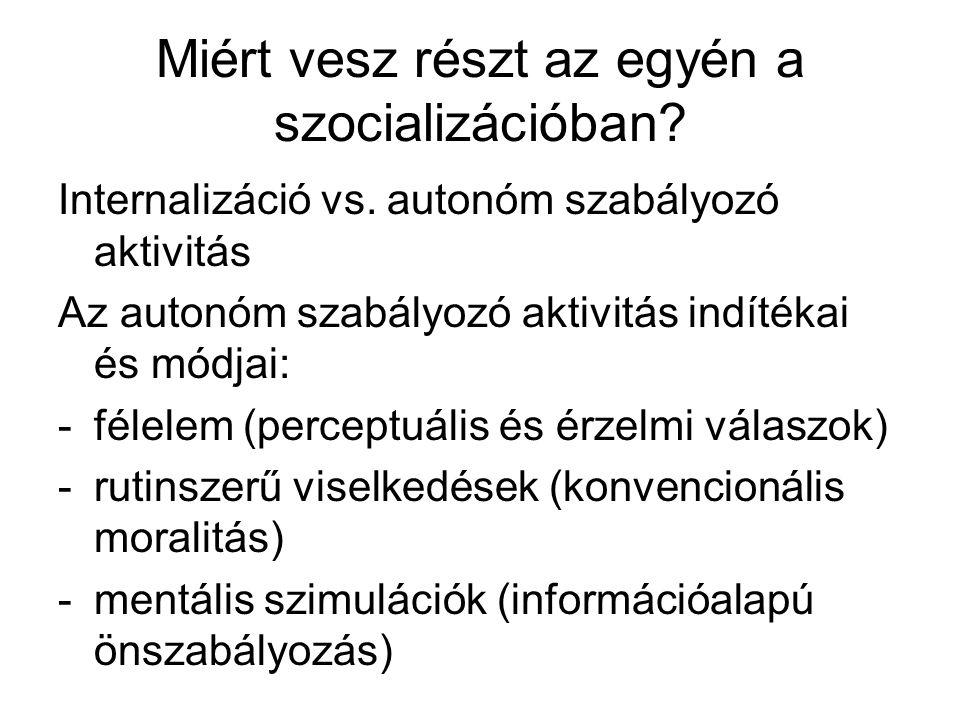 Miért vesz részt az egyén a szocializációban? Internalizáció vs. autonóm szabályozó aktivitás Az autonóm szabályozó aktivitás indítékai és módjai: -fé