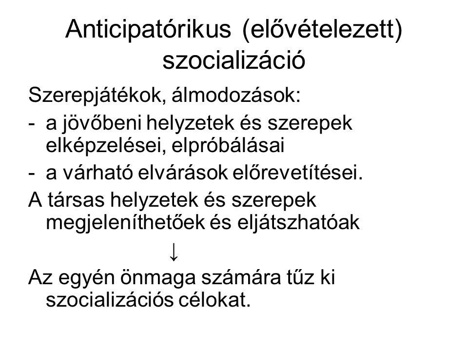 Anticipatórikus (elővételezett) szocializáció Szerepjátékok, álmodozások: -a jövőbeni helyzetek és szerepek elképzelései, elpróbálásai -a várható elvá