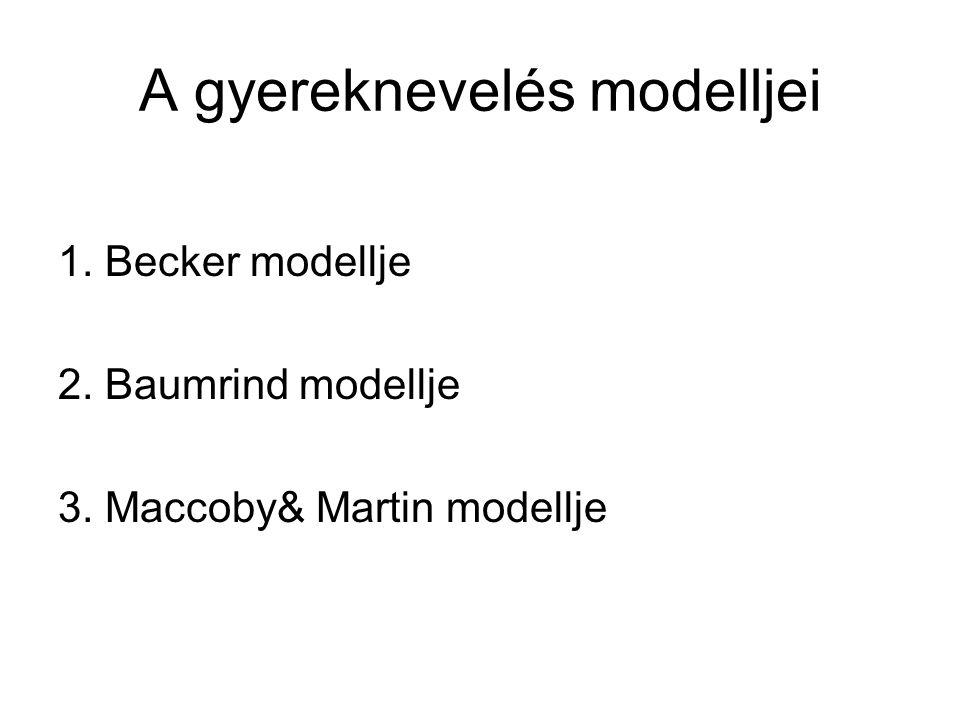 A gyereknevelés modelljei 1. Becker modellje 2. Baumrind modellje 3. Maccoby& Martin modellje