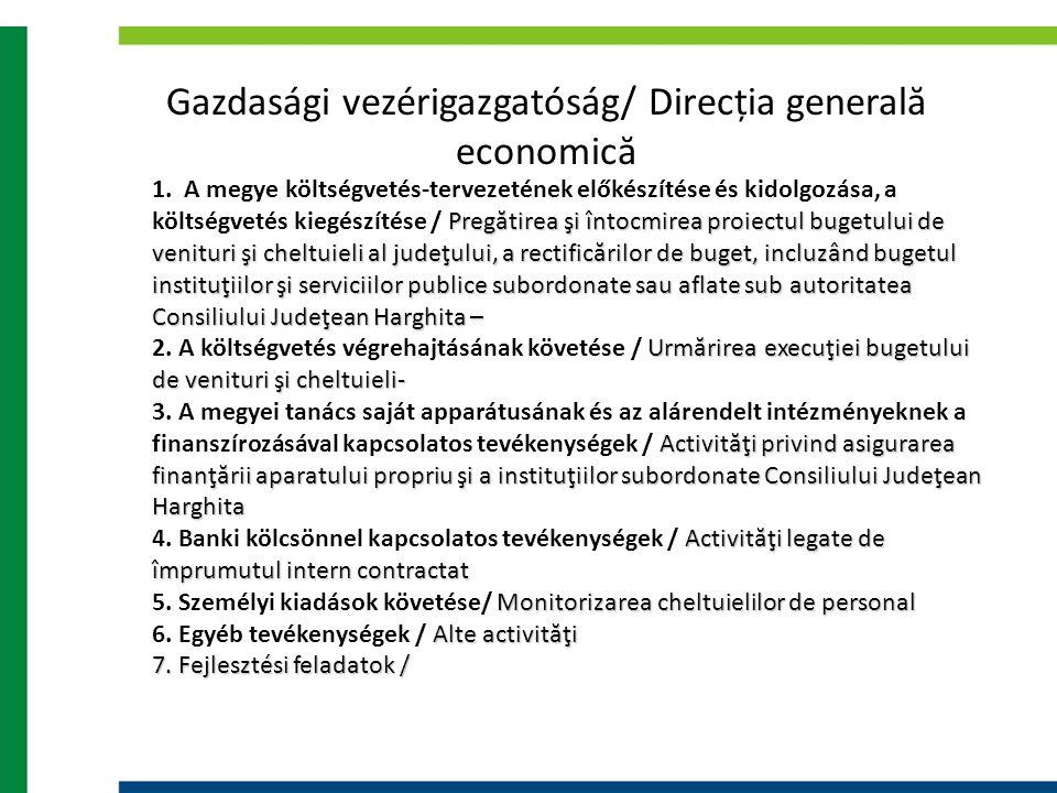 Gazdasági vezérigazgatóság/ Direcția generală economică Pregătirea şi întocmirea proiectul bugetului de venituri şi cheltuieli al judeţului, a rectifi