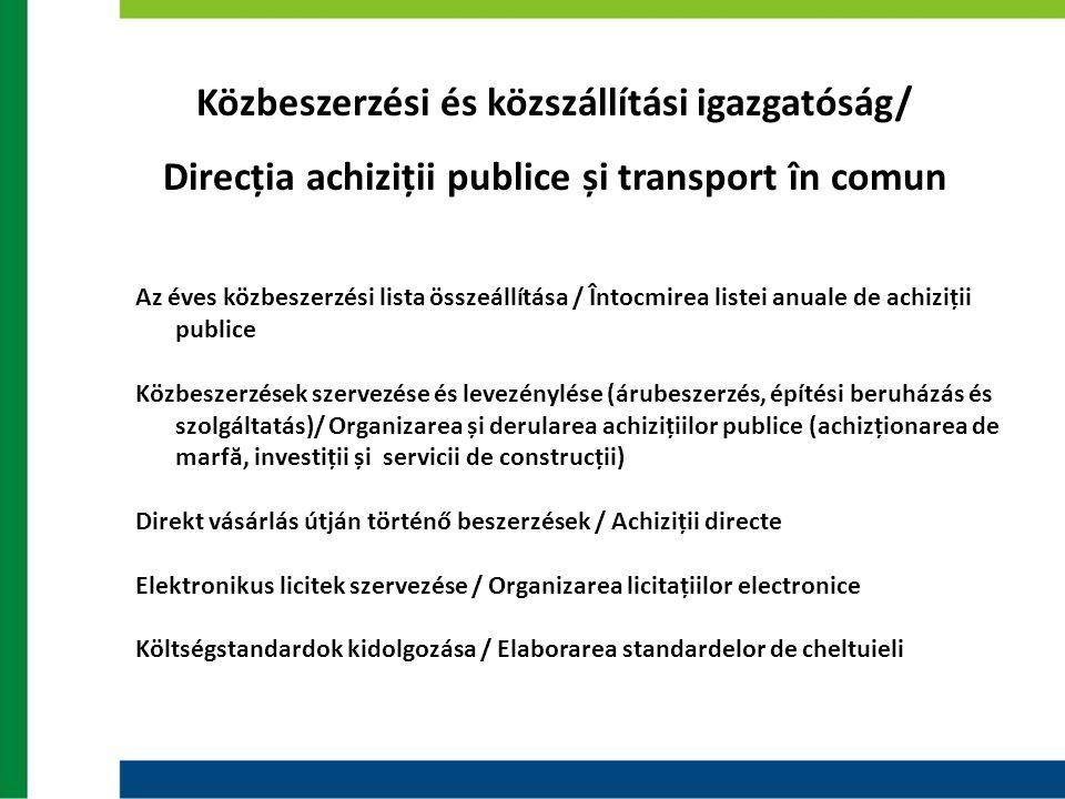 Közbeszerzési és közszállítási igazgatóság/ Direcția achiziții publice și transport în comun Az éves közbeszerzési lista összeállítása / Întocmirea li
