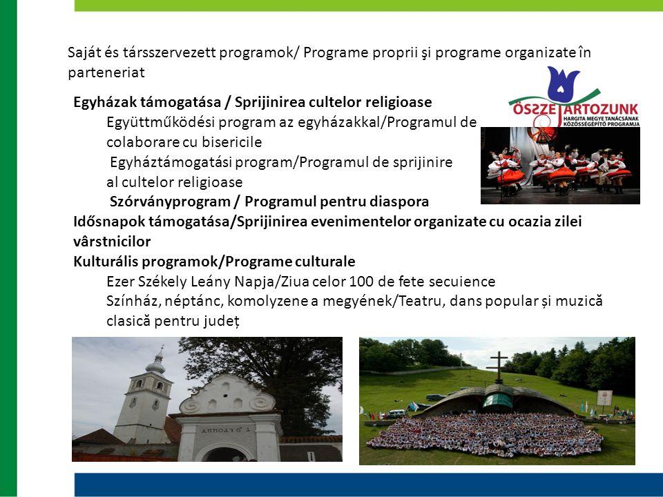 Saját és társszervezett programok/ Programe proprii şi programe organizate în parteneriat Egyházak támogatása / Sprijinirea cultelor religioase Együtt