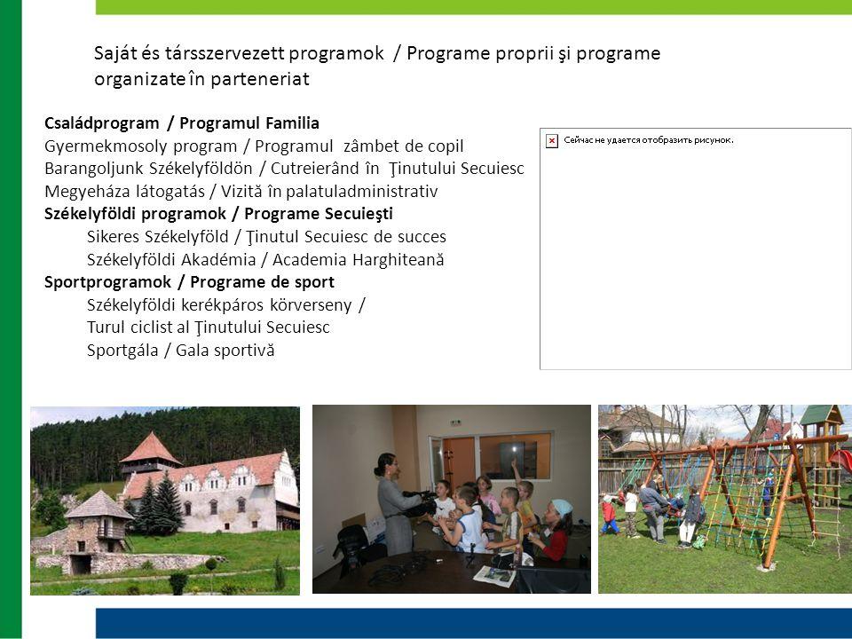 Saját és társszervezett programok / Programe proprii şi programe organizate în parteneriat Családprogram / Programul Familia Gyermekmosoly program / P