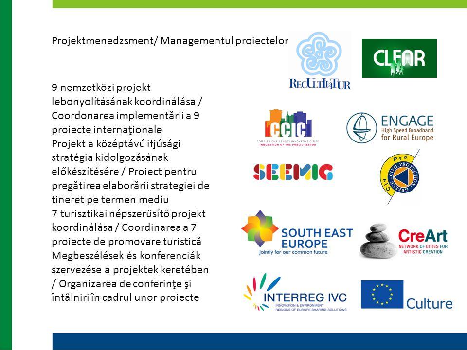 Projektmenedzsment/ Managementul proiectelor 9 nemzetközi projekt lebonyolításának koordinálása / Coordonarea implementării a 9 proiecte internaţional