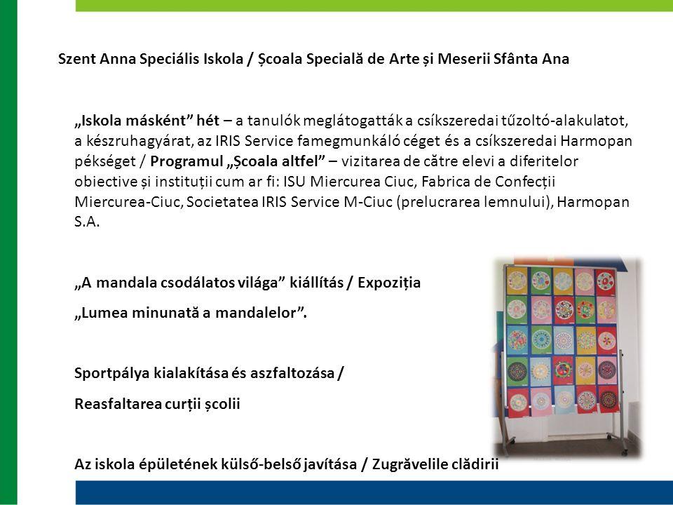 """Szent Anna Speciális Iskola / Școala Specială de Arte și Meserii Sfânta Ana """"Iskola másként"""" hét – a tanulók meglátogatták a csíkszeredai tűzoltó-alak"""