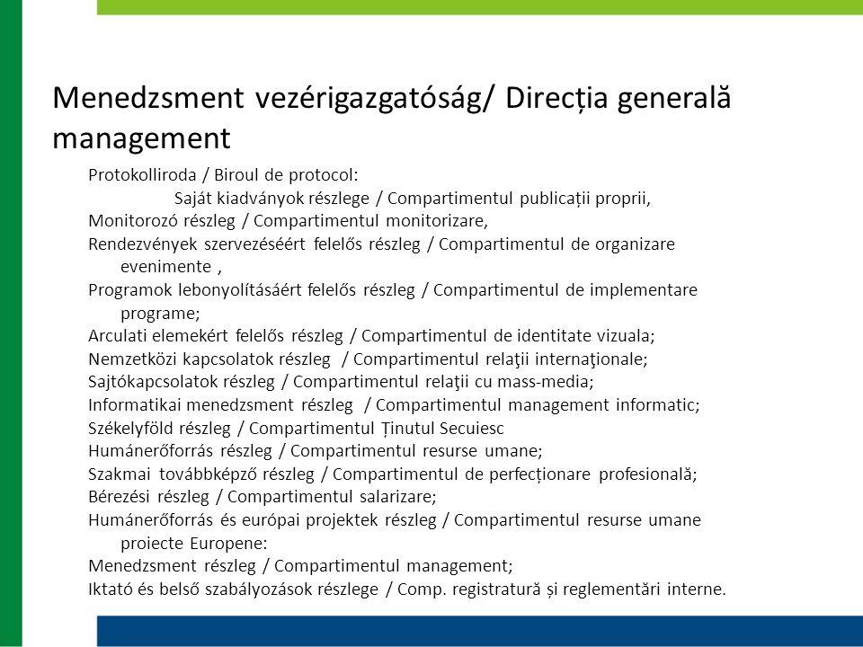 Menedzsment vezérigazgatóság/ Direcția generală management Protokolliroda / Biroul de protocol: Saját kiadványok részlege / Compartimentul publicații