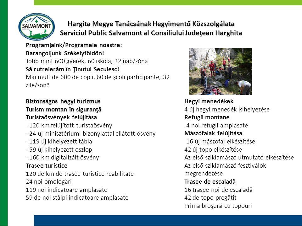 Hargita Megye Tanácsának Hegyimentő Közszolgálata Serviciul Public Salvamont al Consiliului Judeţean Harghita Programjaink/Programele noastre: Barango