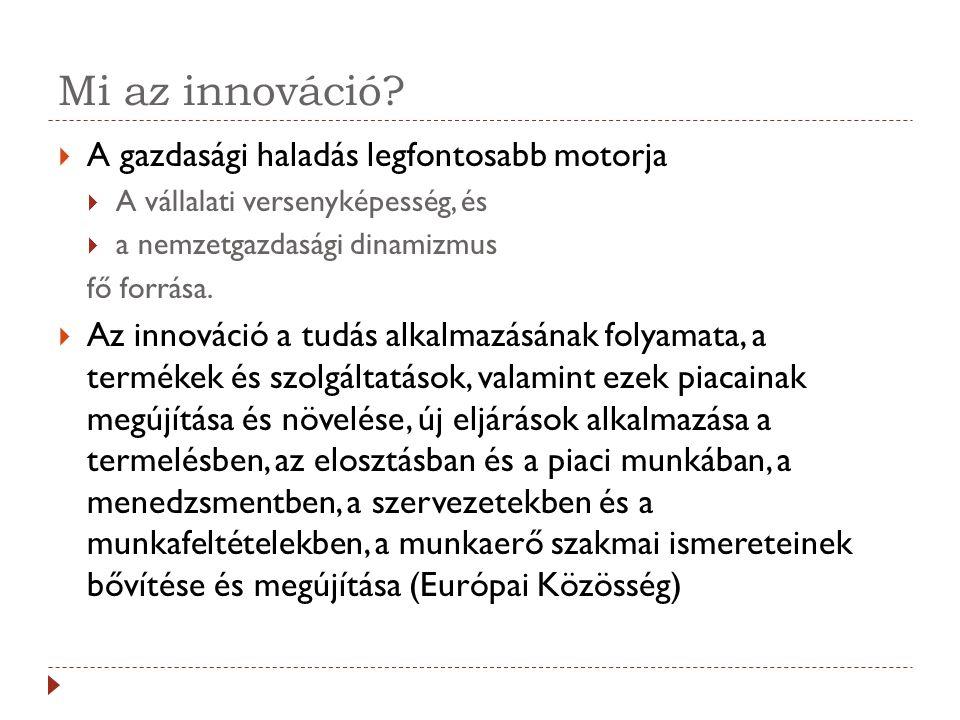 Mi az innováció?  A gazdasági haladás legfontosabb motorja  A vállalati versenyképesség, és  a nemzetgazdasági dinamizmus fő forrása.  Az innováci