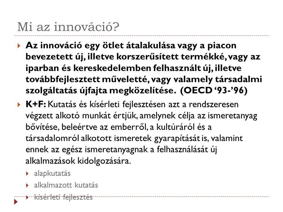 Mi az innováció?  Az innováció egy ötlet átalakulása vagy a piacon bevezetett új, illetve korszerűsített termékké, vagy az iparban és kereskedelemben