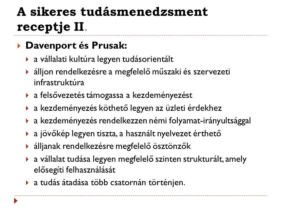 A sikeres tudásmenedzsment receptje II.  Davenport és Prusak:  a vállalati kultúra legyen tudásorientált  álljon rendelkezésre a megfelelő műszaki