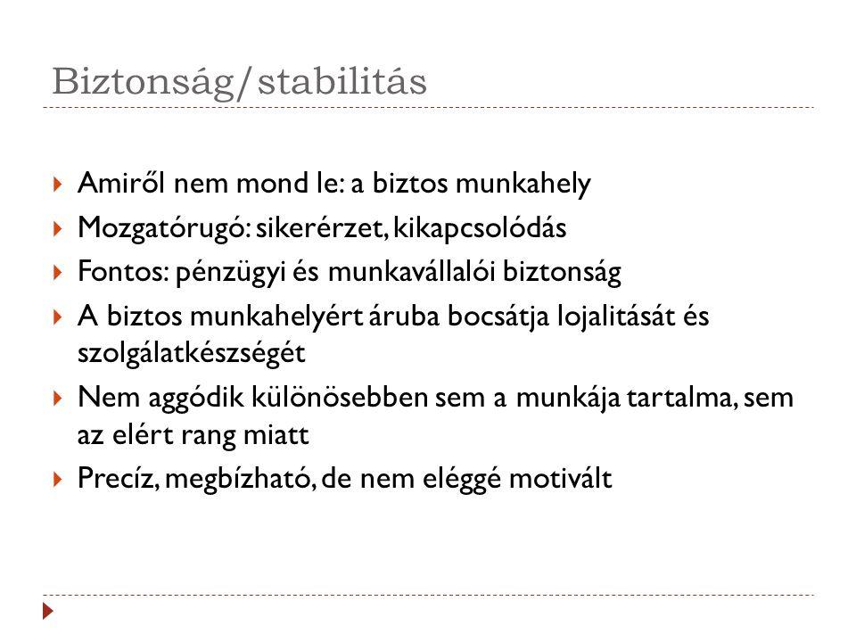 Biztonság/stabilitás  Amiről nem mond le: a biztos munkahely  Mozgatórugó: sikerérzet, kikapcsolódás  Fontos: pénzügyi és munkavállalói biztonság 