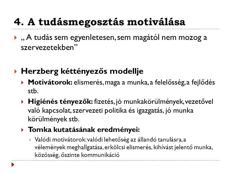 """4. A tudásmegosztás motiválása  """" A tudás sem egyenletesen, sem magától nem mozog a szervezetekben""""  Herzberg kéttényezős modellje  Motivátorok: el"""