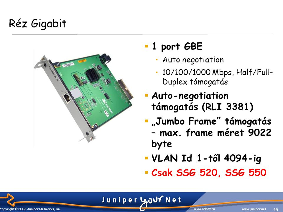 45 Copyright © 2006 Juniper Networks, Inc. www.relnet.huwww.juniper.net Réz Gigabit  1 port GBE •Auto negotiation •10/100/1000 Mbps, Half/Full- Duple