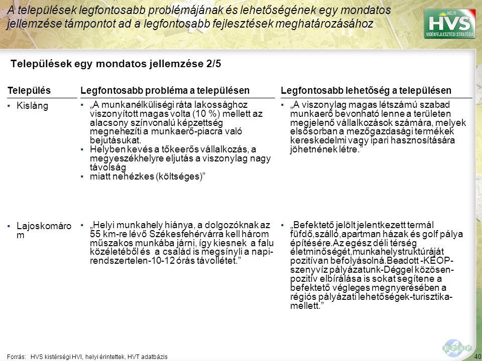 40 Települések egy mondatos jellemzése 2/5 A települések legfontosabb problémájának és lehetőségének egy mondatos jellemzése támpontot ad a legfontosa