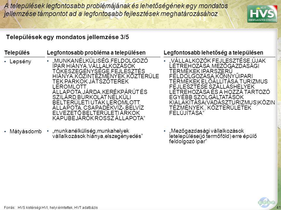 """41 Települések egy mondatos jellemzése 3/5 A települések legfontosabb problémájának és lehetőségének egy mondatos jellemzése támpontot ad a legfontosabb fejlesztések meghatározásához Forrás:HVS kistérségi HVI, helyi érintettek, HVT adatbázis TelepülésLegfontosabb probléma a településen ▪Lepsény ▪""""MUNKANÉLKÜLISÉG,FELDOLGOZÓ IPAR HIÁNYA,VÁLLALKOZÁSOK TŐKESZEGÉNYSÉGE,FEJLESZTÉS HIÁNYA,KÖZINTÉZMÉNYEK,KÖZTERÜLE TEK PARKOK JÁTSZÓTEREK LEROMLOTT ÁLLAPOTA,JÁRDA,KERÉKPÁRÚT ÉS SZILÁRD BURKOLAT NÉLKÜLI BELTERÜLETI UTAK LEROMLOTT ÁLLAPOTA, CSAPADÉKVÍZ-,BELVÍZ ELVEZETŐ BELTERÜLETI ÁRKOK KAPUBEJÁRÓK ROSSZ ÁLLAPOTA ▪Mátyásdomb ▪""""munkanélküliség,munkahelyek vállalkozások hiánya,elszegényedés Legfontosabb lehetőség a településen ▪""""VÁLLALKOZÓK FEJLESZTÉSE,ÚJAK LÉTREHOZÁSA,MEZŐGAZDASÁGI TERMÉKEK IPARSZERŰ FELDOLGOZÁSA,KÖNNYŰIPARI TERMÉKEK ELŐÁLLÍTÁSA,TURIZMUS FEJLESZTÉSE SZÁLLÁSHELYEK LÉTREHOZÁSA ÉS A HOZZÁ TARTOZÓ EGYÉBB SZOLGÁLTATÁSOK KIALAKÍTÁSA(VADÁSZTURIZMUS)KÖZIN TÉZMÉNYEK, KÖZTERÜLETEK FELÚJÍTÁSA ▪""""Mezőgazdasági vállalkozások letelepülése(jó termőföld) erre épülő feldolgozó ipar"""
