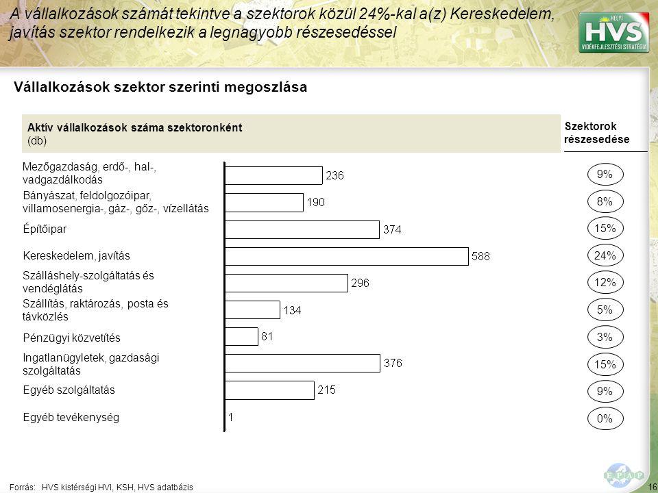 16 Forrás:HVS kistérségi HVI, KSH, HVS adatbázis Vállalkozások szektor szerinti megoszlása A vállalkozások számát tekintve a szektorok közül 24%-kal a(z) Kereskedelem, javítás szektor rendelkezik a legnagyobb részesedéssel Aktív vállalkozások száma szektoronként (db) Mezőgazdaság, erdő-, hal-, vadgazdálkodás Bányászat, feldolgozóipar, villamosenergia-, gáz-, gőz-, vízellátás Építőipar Kereskedelem, javítás Szálláshely-szolgáltatás és vendéglátás Szállítás, raktározás, posta és távközlés Pénzügyi közvetítés Ingatlanügyletek, gazdasági szolgáltatás Egyéb szolgáltatás Egyéb tevékenység Szektorok részesedése 9% 8% 24% 12% 5% 15% 9% 0% 15% 3%