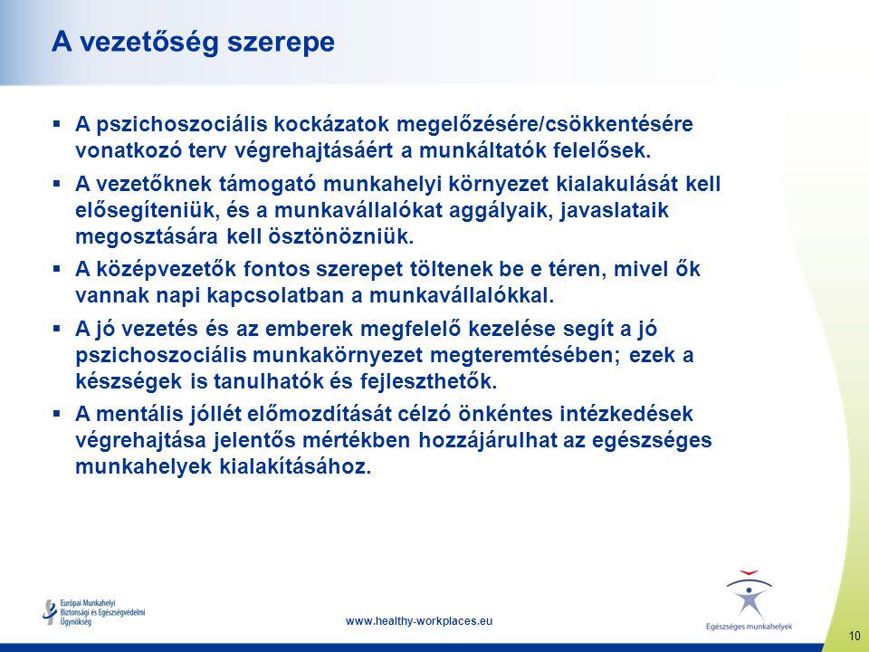 10 www.healthy-workplaces.eu A vezetőség szerepe  A pszichoszociális kockázatok megelőzésére/csökkentésére vonatkozó terv végrehajtásáért a munkáltat