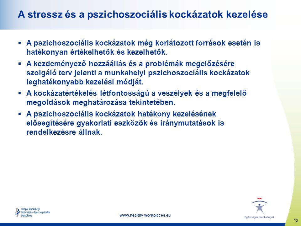 12 www.healthy-workplaces.eu A stressz és a pszichoszociális kockázatok kezelése  A pszichoszociális kockázatok még korlátozott források esetén is ha