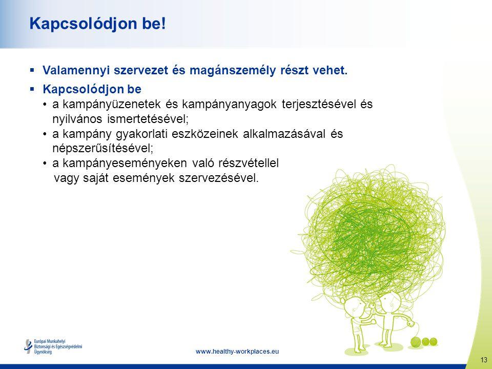 13 www.healthy-workplaces.eu Kapcsolódjon be!  Valamennyi szervezet és magánszemély részt vehet.  Kapcsolódjon be • a kampányüzenetek és kampányanya