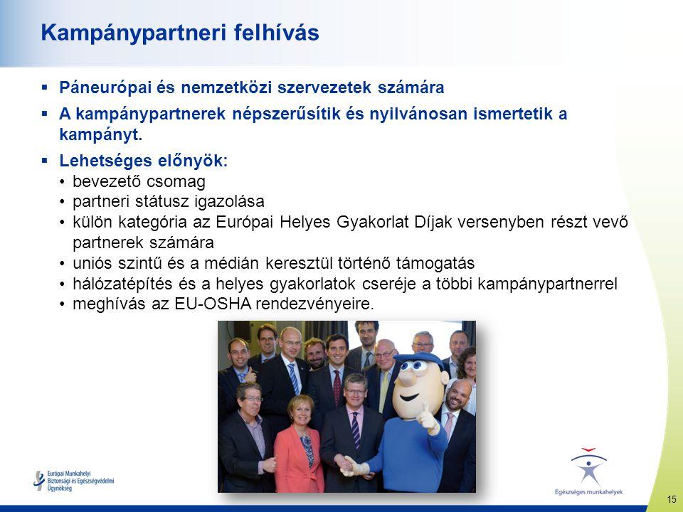 15 www.healthy-workplaces.eu Kampánypartneri felhívás  Páneurópai és nemzetközi szervezetek számára  A kampánypartnerek népszerűsítik és nyilvánosan