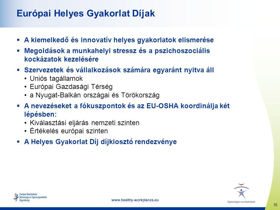 16 www.healthy-workplaces.eu Európai Helyes Gyakorlat Díjak  A kiemelkedő és innovatív helyes gyakorlatok elismerése  Megoldások a munkahelyi stress