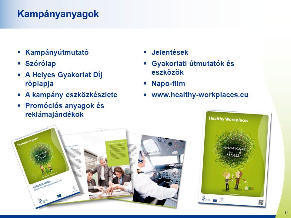 17 www.healthy-workplaces.eu Kampányanyagok  Kampányútmutató  Szórólap  A Helyes Gyakorlat Díj röplapja  A kampány eszközkészlete  Promóciós anya