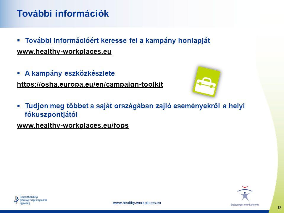 18 www.healthy-workplaces.eu További információk  További információért keresse fel a kampány honlapját www.healthy-workplaces.eu  A kampány eszközk
