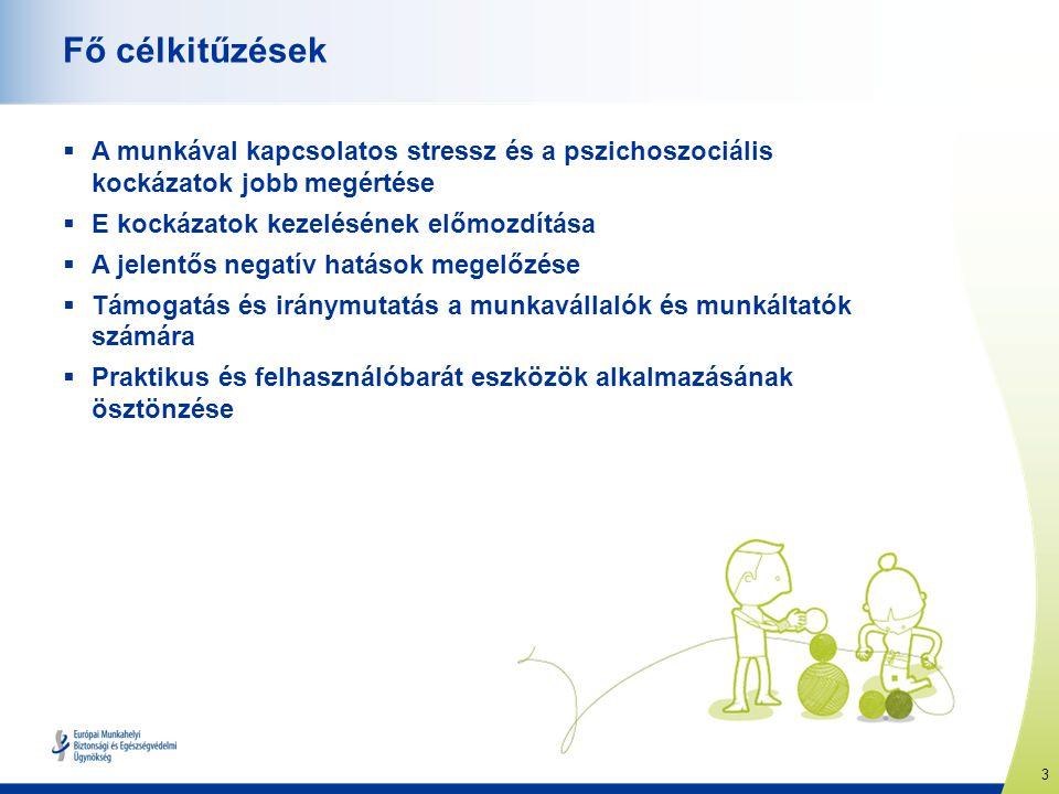 3 www.healthy-workplaces.eu Fő célkitűzések  A munkával kapcsolatos stressz és a pszichoszociális kockázatok jobb megértése  E kockázatok kezeléséne