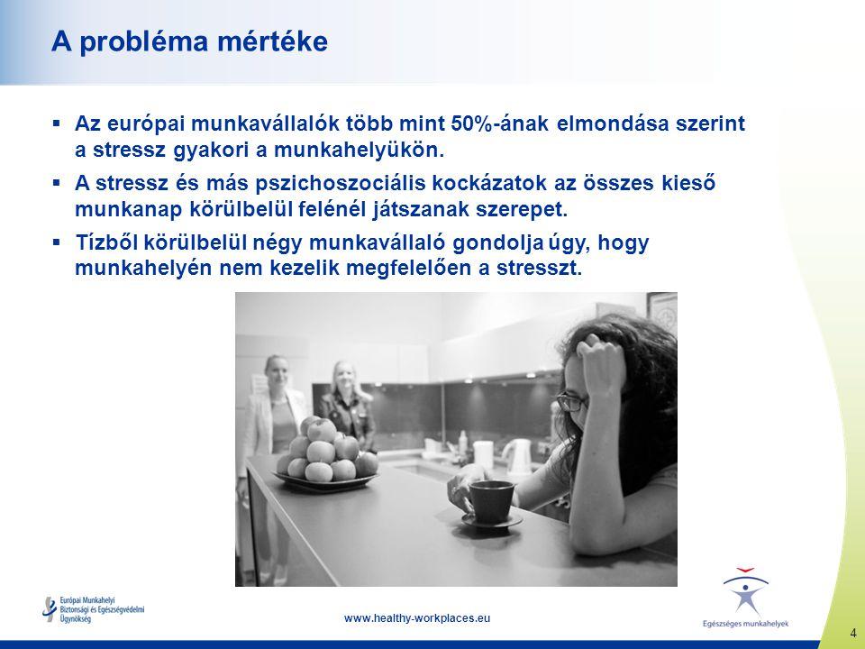 4 www.healthy-workplaces.eu A probléma mértéke  Az európai munkavállalók több mint 50%-ának elmondása szerint a stressz gyakori a munkahelyükön.  A