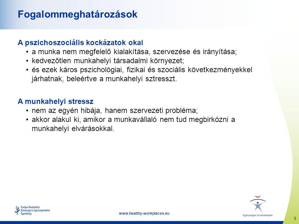 6 www.healthy-workplaces.eu A pszichoszociális munkakörnyezet A rossz pszichoszociális környezet okai lehetnek  a túlzott vagy ellentmondó munkahelyi elvárások;  a munkavégzés módjának kialakításában való részvétel és befolyás hiánya;  a rossz kommunikáció és a támogatás hiánya;  pszichológiai és szexuális zaklatás, harmadik fél által elkövetett erőszak;  rosszul irányított szervezeti átalakítás és munkahelyi bizonytalanság.