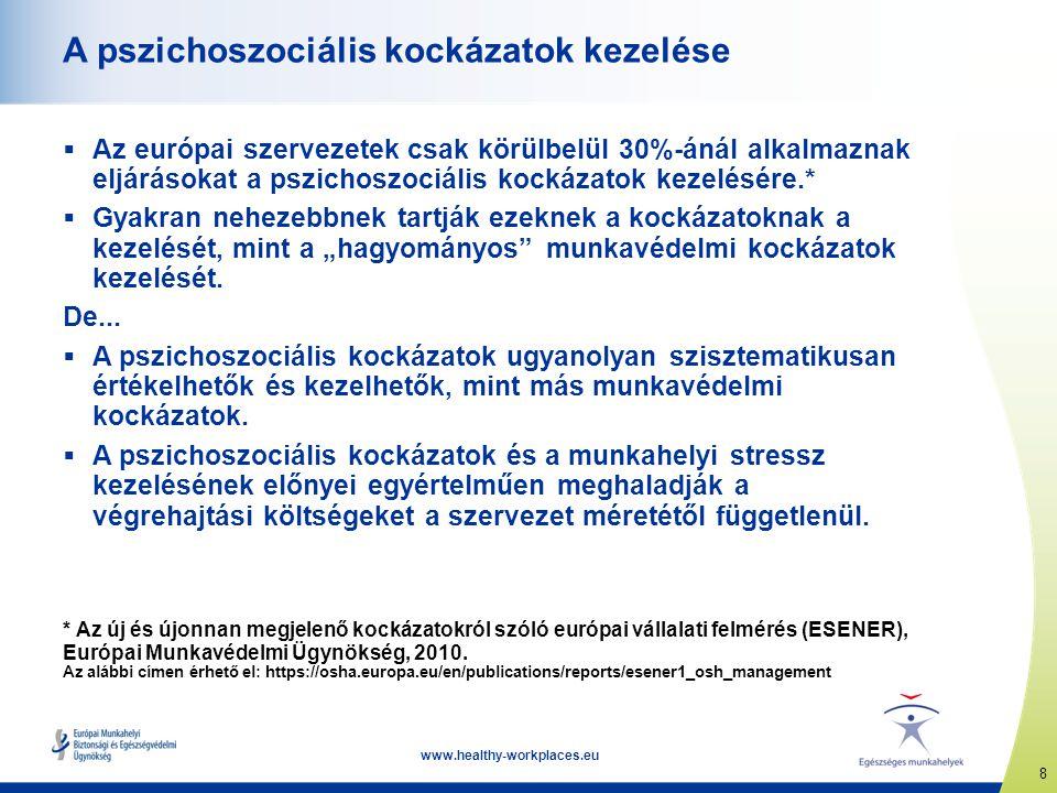 9 www.healthy-workplaces.eu A pszichoszociális kockázatok kezelésének előnyei  Jobb közérzet és a munkával való nagyobb elégedettség  Egészséges, motivált és produktív munkaerő  Jobb általános teljesítmény és termelékenység  Alacsonyabb hiányzás és alkalmazotti fluktuáció  Kisebb költség és teher a közösség egésze számára  A jogi követelményeknek való megfelelés