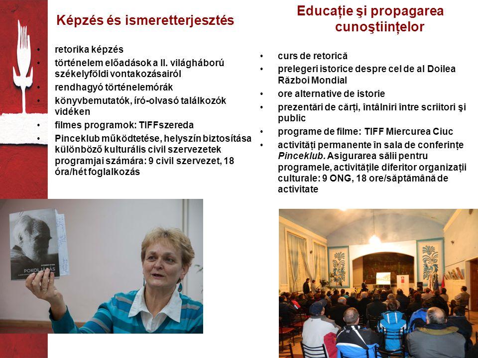 Képzés és ismeretterjesztés •retorika képzés •történelem előadások a II.