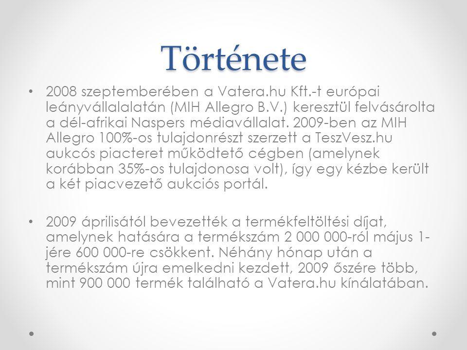 Története • 2008 szeptemberében a Vatera.hu Kft.-t európai leányvállalalatán (MIH Allegro B.V.) keresztül felvásárolta a dél-afrikai Naspers médiaváll