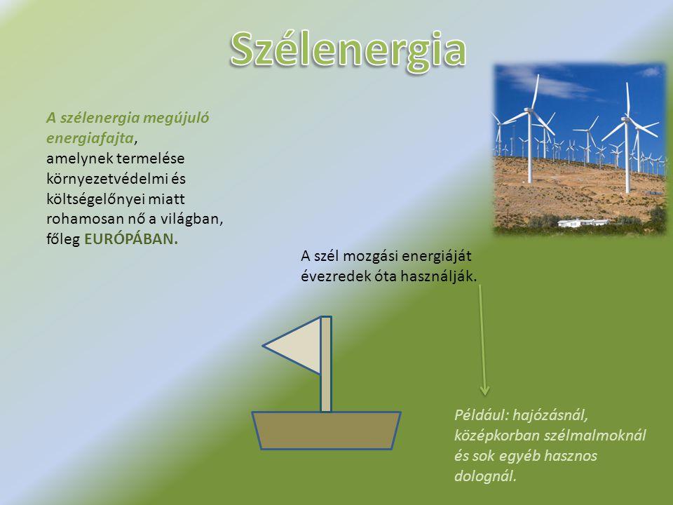 A szélenergia megújuló energiafajta, amelynek termelése környezetvédelmi és költségelőnyei miatt rohamosan nő a világban, főleg EURÓPÁBAN.