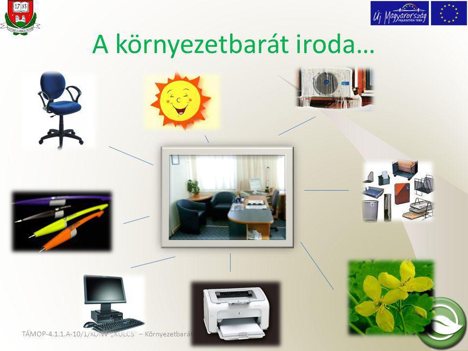 """TÁMOP-4.1.1.A-10/1/KONV """"KULCS – Környezetbarát Iroda Program A környezetbarát iroda… Környezeti, munkaegészségügyi és ergonómiai szempontok figyelembe vételével anyag- és energiatakarékos módon működő iroda és irodai munkavégzés Ide tartozik: • papírfelhasználás; • irodai """"aprócikkek ; • számítógépek és számítógépes munkahelyek kialakítása; • másológépek és nyomtatók használata; • bútorok és iroda-berendezés; • energiatakarékosság lehetőségei; • takarítás és tisztítószerek."""