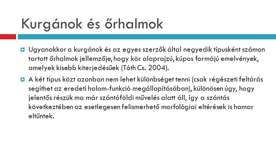 Kurgánok és őrhalmok  Ugyanakkor a kurgánok és az egyes szerzők által negyedik típusként számon tartott őrhalmok jellemzője, hogy kör alaprajzú, kúpo