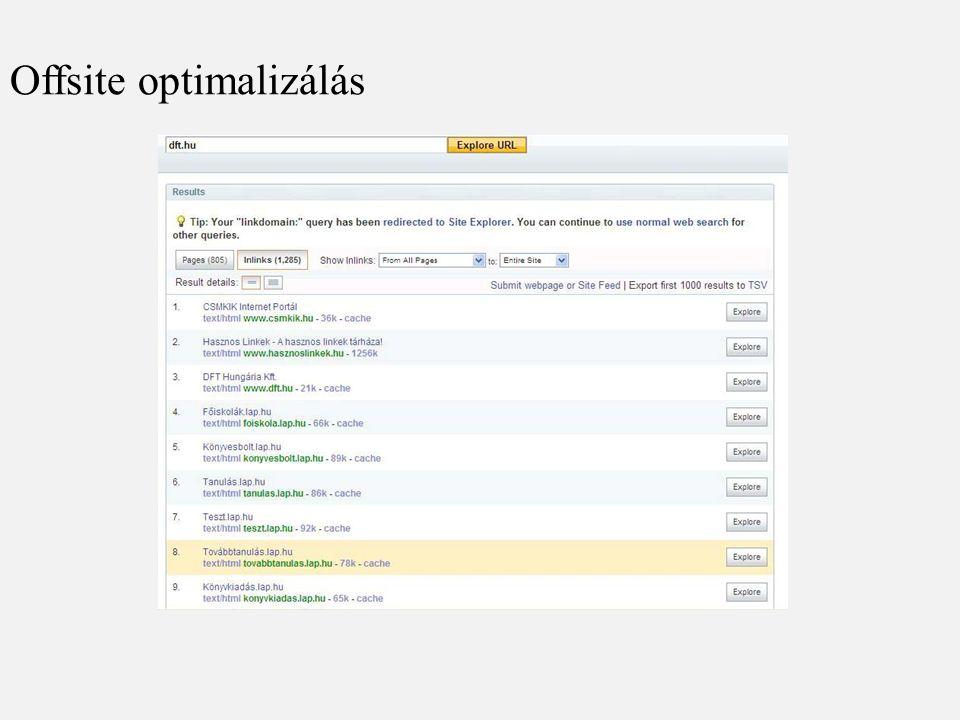 Offsite optimalizálás