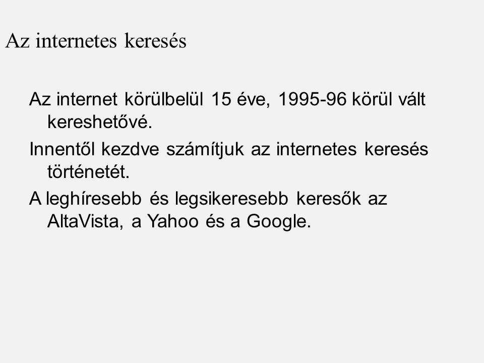 Az internetes keresés Az internet körülbelül 15 éve, 1995-96 körül vált kereshetővé. Innentől kezdve számítjuk az internetes keresés történetét. A leg