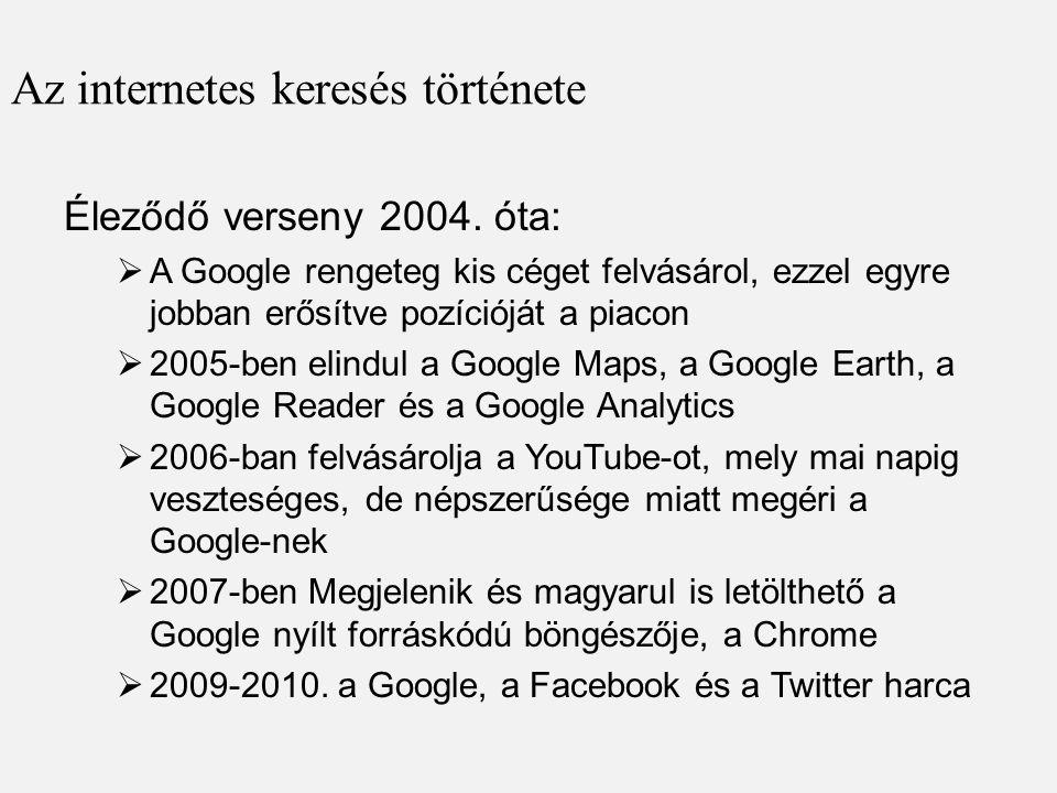 Az internetes keresés története Éleződő verseny 2004. óta:  A Google rengeteg kis céget felvásárol, ezzel egyre jobban erősítve pozícióját a piacon 