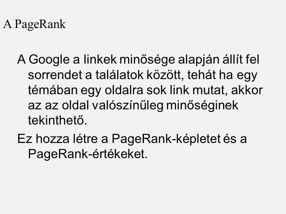 A PageRank A Google a linkek minősége alapján állít fel sorrendet a találatok között, tehát ha egy témában egy oldalra sok link mutat, akkor az az oldal valószínűleg minőséginek tekinthető.