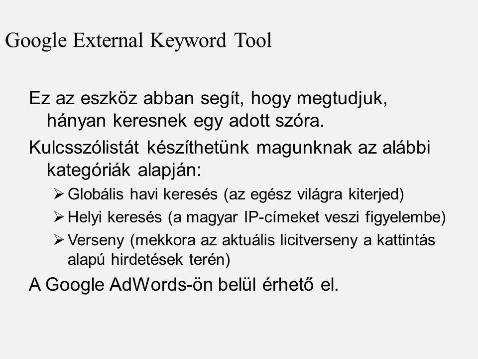Google External Keyword Tool Ez az eszköz abban segít, hogy megtudjuk, hányan keresnek egy adott szóra. Kulcsszólistát készíthetünk magunknak az alább