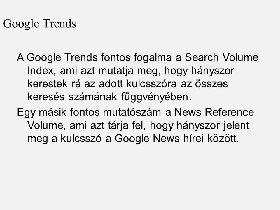 Google Trends A Google Trends fontos fogalma a Search Volume Index, ami azt mutatja meg, hogy hányszor kerestek rá az adott kulcsszóra az összes keresés számának függvényében.