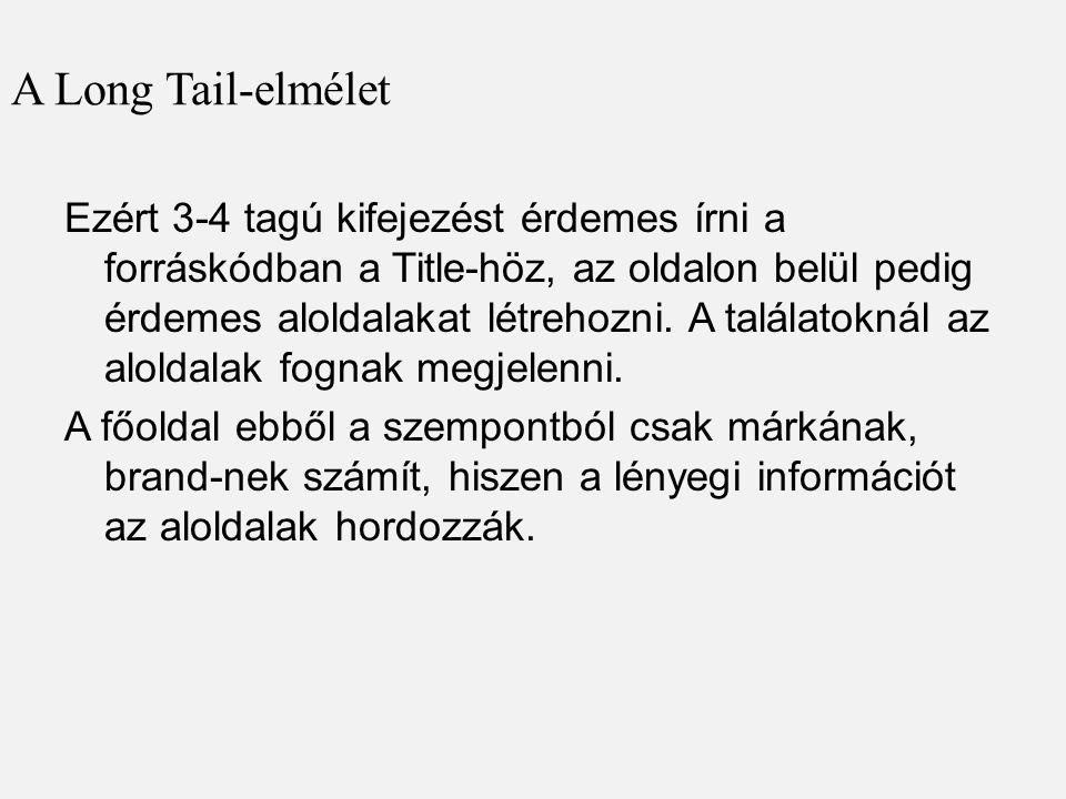 A Long Tail-elmélet Ezért 3-4 tagú kifejezést érdemes írni a forráskódban a Title-höz, az oldalon belül pedig érdemes aloldalakat létrehozni.