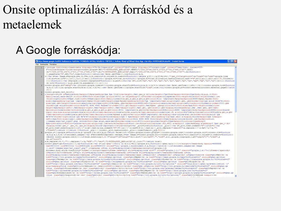 A Google forráskódja: Onsite optimalizálás: A forráskód és a metaelemek