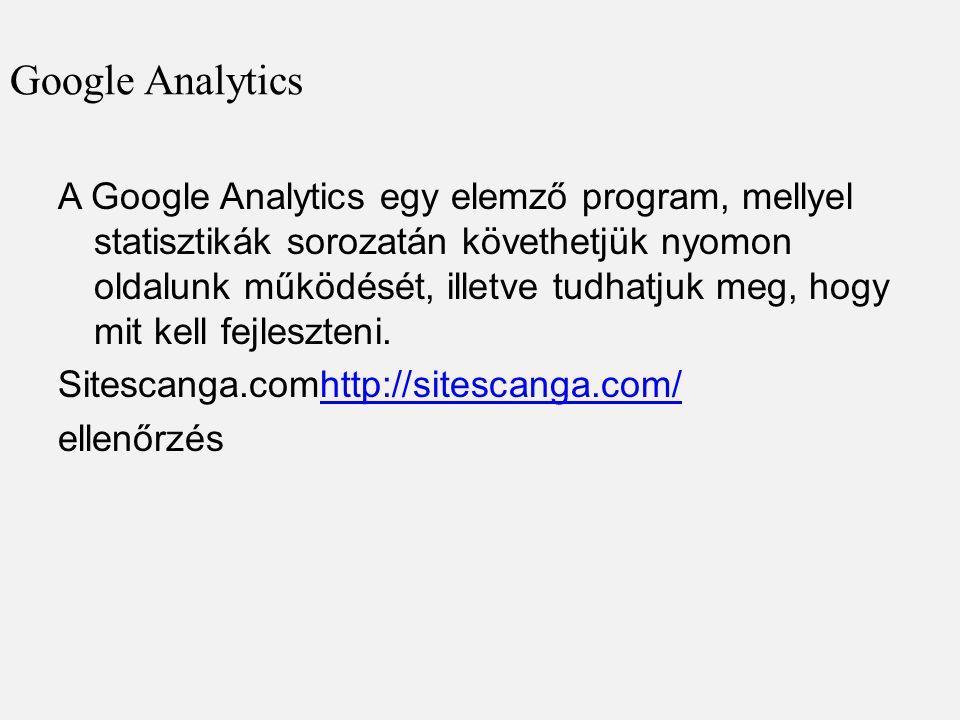Google Analytics A Google Analytics egy elemző program, mellyel statisztikák sorozatán követhetjük nyomon oldalunk működését, illetve tudhatjuk meg, hogy mit kell fejleszteni.