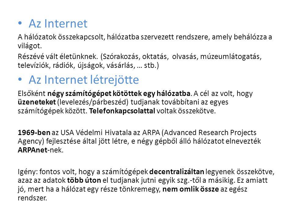 • Az Internet A hálózatok összekapcsolt, hálózatba szervezett rendszere, amely behálózza a világot.